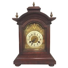 Antique Junghans Bracket Clock w/ Brass Finials Mahogany Case Elegant Face w/ Logo Not Running Bim Bam Chime