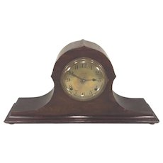 Vintage Ingraham Mantel Clock Canto Model Gold Face Tambour Case Runs