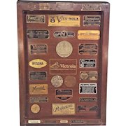 Collectors Dream A Victrola Top w/ Tags from Various Makers of Phonographs & Grammophones and Music Stores