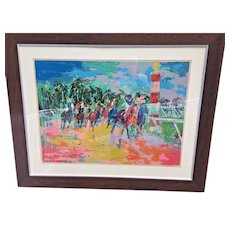 """Vintage Leroy Neiman Ltd Edition Serigraph """"Florida Racing"""" 1974 Pencil Signed #297 of 300 Framed & Matted Lucite over Piece Great Wood Frame"""