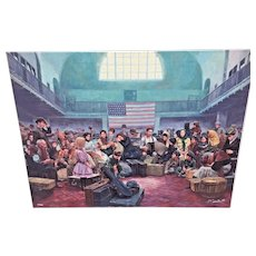 "Mort Kuntsler ""Ellis Island, Main Hall"" Oil on Canvas Limited Edition Print # 73 of 200 Not Framed 1986 The American Spirit Series"