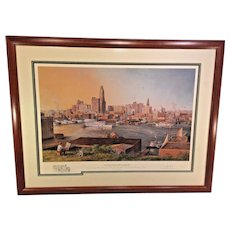 Old Baltimore Harbor by Paul McGehee  Artist Proof w/ Remarque Professionally Framed & Matted Conservation Glass  Shows a View of Baltimore Harbor as of 1930