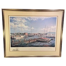 Annapolis Limited Edition Print Paul Mcgehee w/ Remarque Professionally Framed & Matted Conservation Glass   Remarque of Light House and Sailing Ship