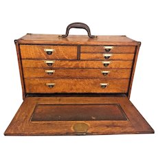 Antique Machinist's Tool Chest Dovetailed Joints Oak Wood w/ Case