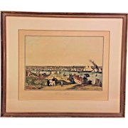 """Antique French """"Vue De Baltimore"""" Harbour Scene Engraving Aquatint by Ambroise Louis Garneray Engraver Hand Colored Framed 1830s to 1840s"""