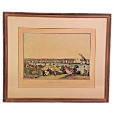 "Antique French ""Vue De Baltimore"" Harbour Scene Engraving Aquatint by Ambroise Louis Garneray Engraver Hand Colored Framed 1830s to 1840s"