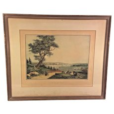 "Ant French ""Vue De New York"" Harbor Print in Frame by Engraver Ambrose Garneray Engraving Aquatint by Ambroise Louis Garneray Hand Colored Framed 1830s to 1840s"