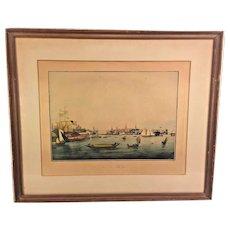 "Antique French ""Vue De Boston"" Harbor Print in Frame by Engraver Ambrose Garneray Engraving Aquatint by Ambroise Louis Garneray Hand Colored Framed 1830s to 1840s"