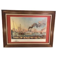 """Paul McGehee """"Baltimore"""" Limited Edition Print w/ Remarque of the USS Constellation Professionally Framed & Matted"""