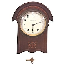 Vintage Seth Thomas Balloon Clock Inlaid Wood Case Runs Strikes Enameled Face  Nice Gong Wire Sound