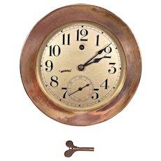 "Vintage Seth Thomas Ship's Wall Clock w/ Seconds Hand Runs! 7.25"" Bezel"