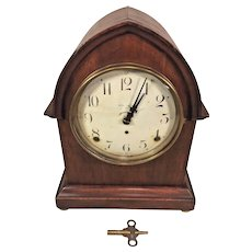 Vintage Petite Seth Thomas Beehive Clock Runs Strikes Enameled Face