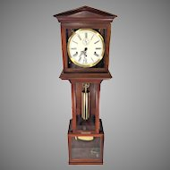 Vintage Hamilton Wall Clock with Westminster Chimes Weight and Spring Driven Nice Cherry Case