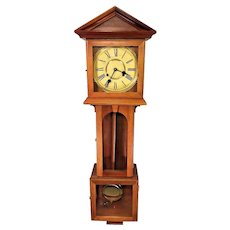 Vintage Langtertein Wall Clock Korea Nice Wood Case Runs Strikes