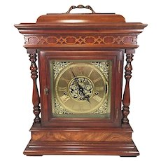 Vintage Colonial Bracket Clock  Ornate Wood Case Westminster 3 Chimes Options Runs