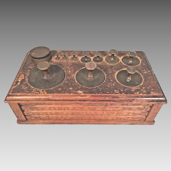 Antique Large and Unique  10 Brass Weight Set also with Coin/Sheet Weights Ornate Wood Base & Sheet Weights 1 Weight Missing