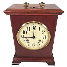 Vintage Bracket Shelf Clock New England Clock Company Wood Case Bim Bam Strike Runs, and Strikes