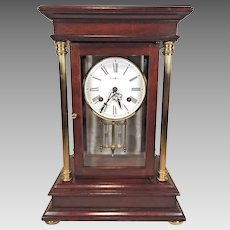 Vintage Howard Miller   Tribute Crystal Regulator Clock   Bim Bam Bell Strike Runs   Cherry Wood Case  Model 613-580