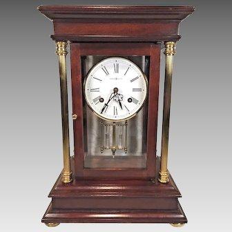 Vintage Howard Miller   Tribute Crystal Regulator Clock   Bim Bam Bell Strike Runs   Cherry Wood Case  Model 613-580