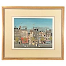 """Michel Delacroix """"L' Homme Sandwich""""   Limited Edition Lithograph No. 46 of 150   Framed and Matted 1985  Pencil Signed w/ Certificate of Authenticity"""