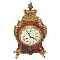 Antique Rococo Style Clock Vernis Martin   Porcelain Face Samuel Marti Movement J E Caldwell   Gold Colored Dragon Legs Painted Wood Case  Runs & Strikes