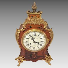 Antique Rococo Style Clock Vernis Martin   Porcelain Face Samuel Marti Movement J E Caldwell   Gold Colored Dragon Legs Painted Wood Case  Runs & Strikes