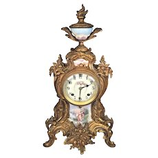 Antique Rococo Style  Brass Mantel Clock Porcelain Front Pieces and Topper Not Running Strikes No Pendulum  New Haven Clock Company