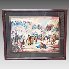"Earl Biss ""The Ice Fishermen"" Limited Edition Serigraph #69/175 Signed 1992"