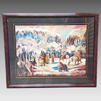 """Earl Biss """"The Ice Fishermen"""" Limited Edition Serigraph #69/175 Signed 1992"""
