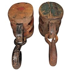Vintage Pair of Block and Tackles Pulleys with Hooks Gill-Simpson & Other