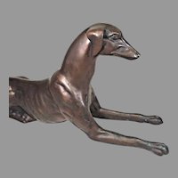 Vintage Bronze Recumbent Greyhound Cast Not Solid