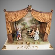 L Motta Vintage Bisque Faience Theater Stage Set  from Italy with Curtains Backdrop and Characters Works of Art 470