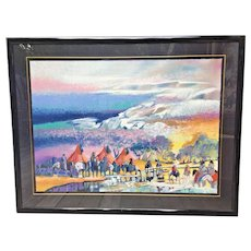 "Earl Biss ""Red Lodge with the Melting of the Spring Snow"" Limited Edition Serigraph # 83 of 300  Framed Signed 1991"