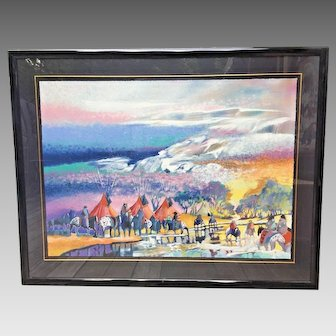 """Earl Biss """"Red Lodge with the Melting of the Spring Snow"""" Limited Edition Serigraph # 83 of 300  Framed Signed 1991"""