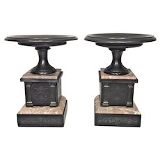 Pair of Antique Marble & Slate Clock Garnitures  Incised Detailing on Front