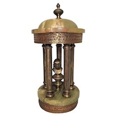 Antique Brass & Onyx Temple with Statue on Pedestal in Center