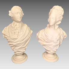 Pair of Composite Marble Look Busts of Louis XVI and Marie Antoinette w/ Socle Bases