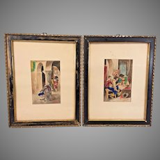 Antique Pair of Watercolor Paintings by J E Mavin Framed 4 Musketeers & Older Man