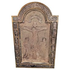 "Silvered Metal Jesus Christ Crucifixion Scene and 12 Apostles Plaque   Signed ""PN"""