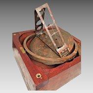 Vintage Pelorus in Nice Wood Case Sighting Vanes  Marine / Nautical Navigational Device  Unknown Maker