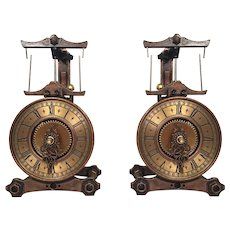 Pair of Miniature Copper & Brass Clock Models Japan