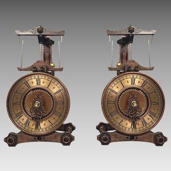 Pair of Miniature Copper & Brass Clock Models Japan