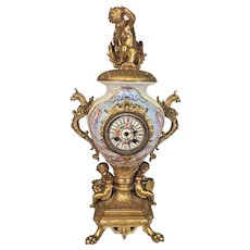 Antique Samuel Marti Urn Clock w/ Lions Claw Feet and Dragons   Hand Painted Porcelain Face   Not Running No Pendulum