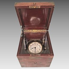 Antique Post - WWI Waltham Ship's Deck Chronometer 8 Day 1921 Nice Wood Case Brass Corner Protectors Runs! Inner Box Only