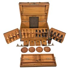Vintage Wood Game Box with Brass Banding Hand Made Chess Checker and Other Pieces