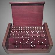 Vtg Dominoes Set in Wood Case Embedded Metal Dots Mexico Display Domino on Top