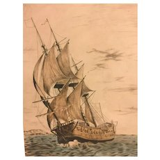 Vtg Clipper Ship Etching w/ Ink Remarque   French Artist Issued by Sidney Z Lucas 1930s to 1940s (#2 of 2)