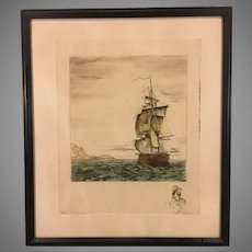 Clipper Ship Etching w/ Ink Remarque   French Artist Issued by Sidney Z Lucas   1930s to 1940s (#1 of 2)