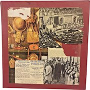 Vintage World War I Scrapbook with 1st Day of Issue Postcard Stamps and Other WWI Related Stamps