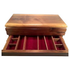 Knotty Pine Jewelry Box with Velveteen Lined Top and Drawer Areas